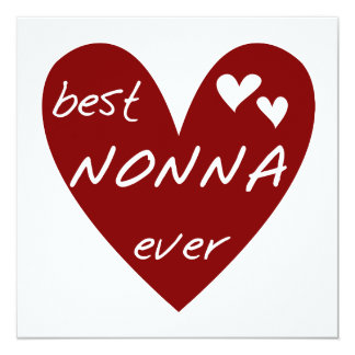 Red Heart Best Nonna Ever T-shirts gifts 5.25x5.25 Square Paper Invitation Card