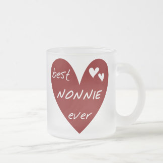 Red Heart Best Nonnie Ever T-shirts and Gifts Frosted Glass Coffee Mug