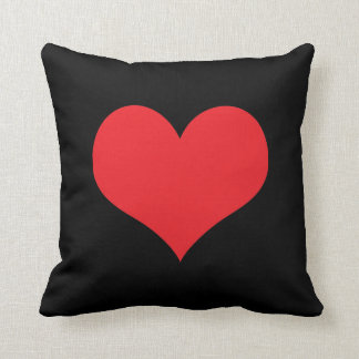 Red heart big black cushion pillow