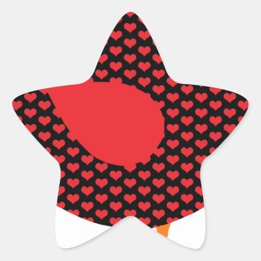 Red Heart Bird Star Sticker