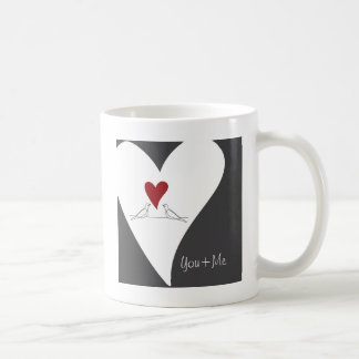 Red Heart Birds In Love Rustic Modern Personalized Coffee Mug