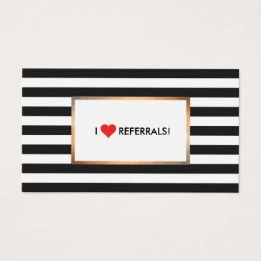 Valentines Themed Red Heart Black and White Stripes Salon Referral Business Card