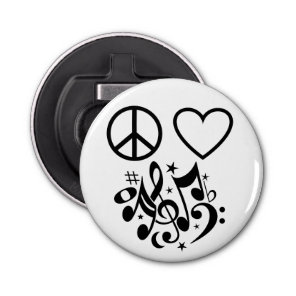 Red Heart Black Peace Symbol Love Harmony Music Bottle Opener