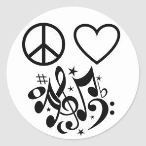 Red Heart Black Peace Symbol Love Harmony Music Classic Round Sticker