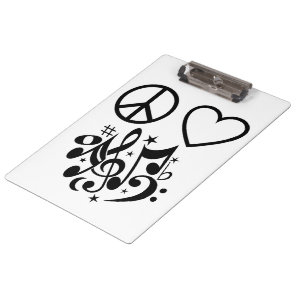 Red Heart Black Peace Symbol Love Harmony Music Clipboard