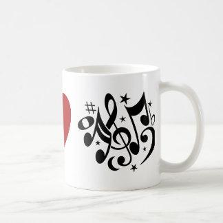Red Heart Black Peace Symbol Love Harmony Music Coffee Mug