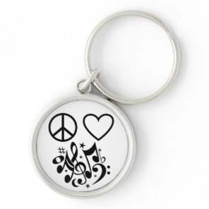 Red Heart Black Peace Symbol Love Harmony Music Keychain