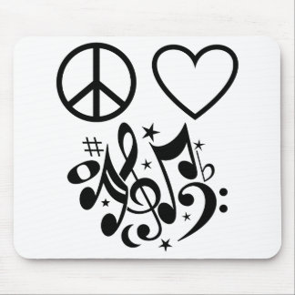 Red Heart Black Peace Symbol Love Harmony Music Mouse Pad