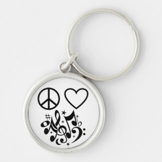 Red Heart Black Peace Symbol Love Harmony Music Silver-Colored Round Keychain
