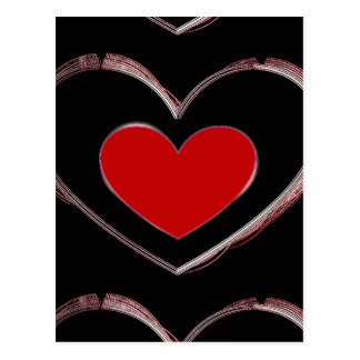 Red Heart Black Pop Art Love Postcard
