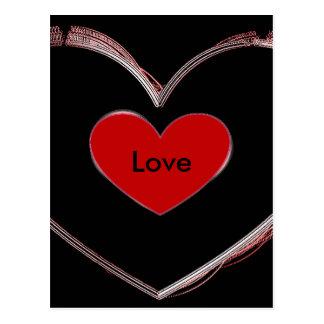Red Heart Black Pop Art Love Script Postcard