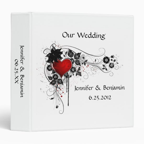 Red Heart Black Swirls Wedding Album 3 Ring Binder