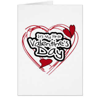 Red Heart Black Text First Valentine's Day Card