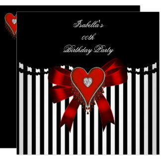 Red Heart Black White Stripe Bow Birthday Party Card
