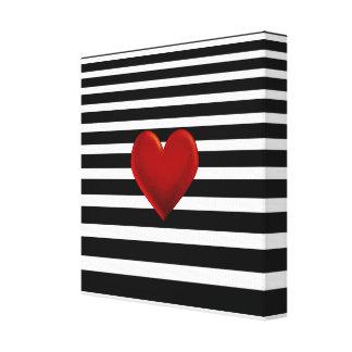 Red Heart Black White Stripes Canvas Print