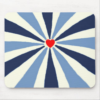 Red heart blue ray design mouse pad