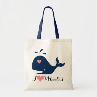 Red Heart & Blue Text I Love Whales Tote Bag