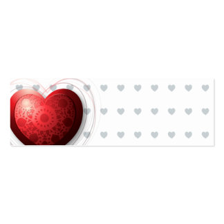 Red heart, bookmark or card business card template