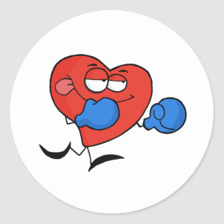Red Heart Boxer in Blue Gloves Classic Round Sticker