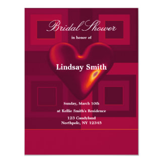 "Red Heart  Bridal Shower Invitation 4.25"" X 5.5"" Invitation Card"