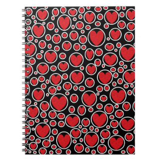 Red Heart Bubbles Notebook