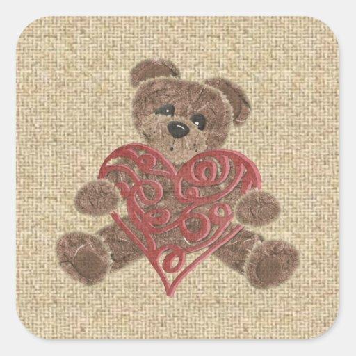 Red heart burlap teddy bear stickers