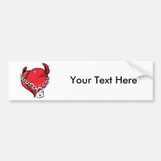 Red Heart Chain & Lock Love Hearts Bumper Sticker