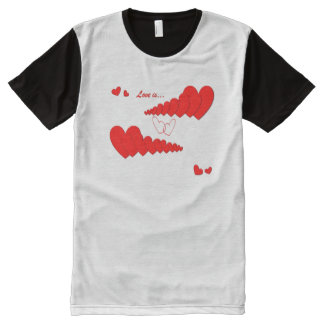 Red Heart Chain LOVE IS... All-Over-Print T-Shirt