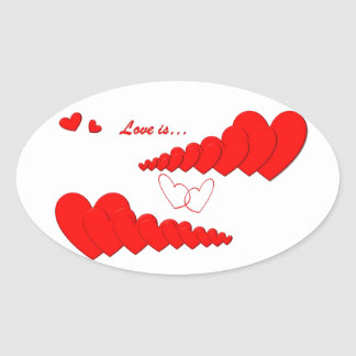 Red Heart Chain LOVE IS... Oval Stickers