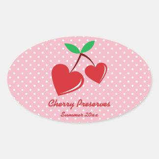 Red Heart Cherries Preserves Label White Polka Dot