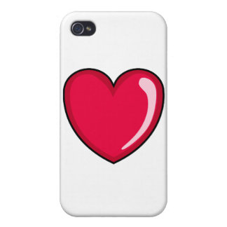 Red Heart Cover For iPhone 4