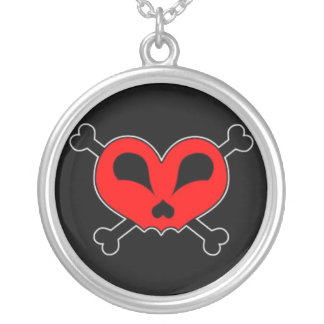 Red Heart & Crossbone Silver Plated Round Necklace