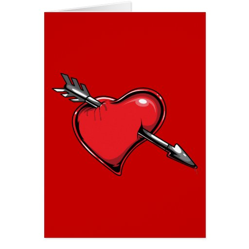 Red Heart Cupid's Arrow Love Hearts Card