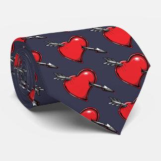 Red Heart Cupid's Arrow Love Hearts Tie