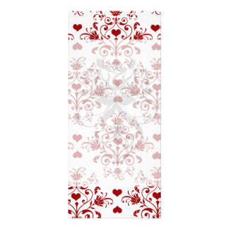 red heart damask on white valentine love custom rack cards