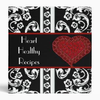 Red Heart & Damask Recipe Binder