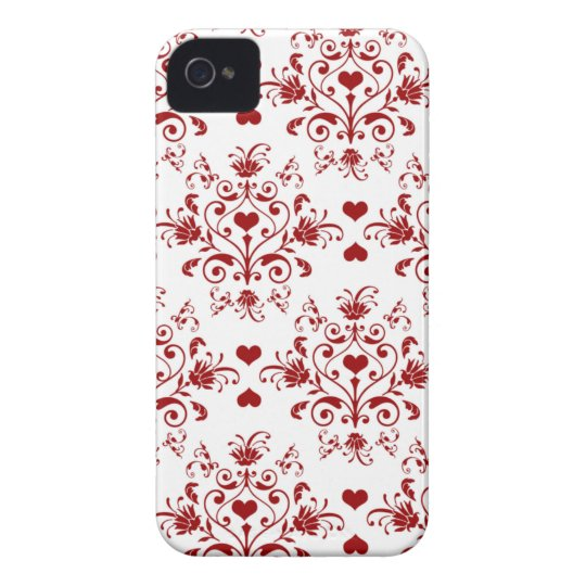 Red heart damask stylish pattern iphone 4 casemate iPhone 4 Case-Mate case