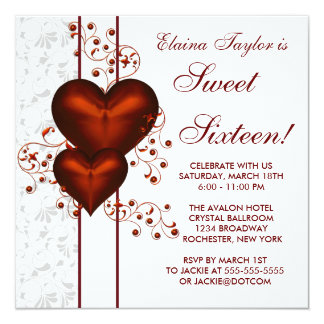 Red Heart Damask Sweet 16 Birthday Party Card