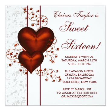 Valentines Themed Red Heart Damask Sweet 16 Birthday Party Card