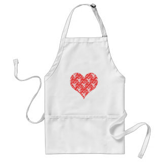red heart damask Valentine Adult Apron