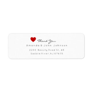Red Heart Delciate Thank You Wedding Label