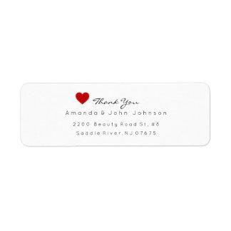 Red Heart Delciate Thank You Wedding Label
