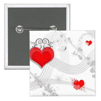 Red Heart Design Pin
