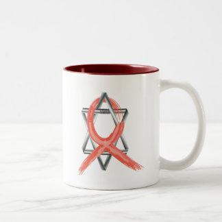 Red Heart Disease / AIDS / HIV Survivor Ribbon Two-Tone Coffee Mug