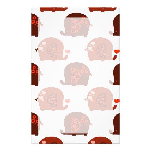 Red Heart Elephants Pattern Custom Stationery