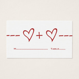 Red Heart Equation Place Card