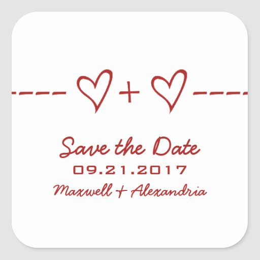Red Heart Equation Save the Date Stickers