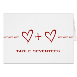 Red Heart Equation Table Number Card