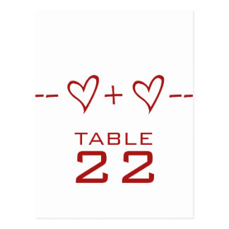 Red Heart Equation Table Number Postcard