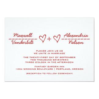 Red Heart Equation Wedding Invite